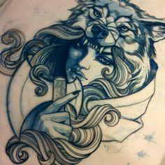 Girl n' wolf tattoo
