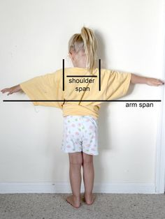 """Kids' Halloween Costume: How to Make Bird Wings : To make the bird wings, you first need to figure out the wing span.  To do so, have your child stand with their arms spread out. Measure the distance from one fingertip to the other side. This will be your """"arm span."""" Then measure the distance in between their shoulders; this will be the """"shoulder span."""" To give you an idea of size, my child is 4 years old, she has a 42"""" wing span and 9 1/2"""" shoulder span.  Fr…"""