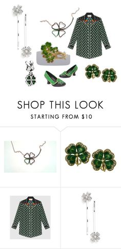 """""""The Luck Of The Clover"""" by monika-przymuszala ❤ liked on Polyvore featuring Gucci, L. Erickson and Pandora"""