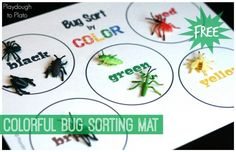 Fun way to help kids learn colors. Sort bugs on this free printable color mat!