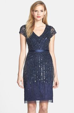 Adrianna Papell Embellished Mesh Dress (Regular & Petite)