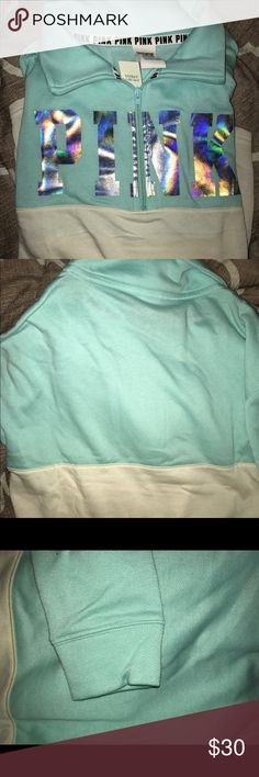 VS PINK PULLOVER VS PINK PULLOVER. NWT. This came in a 2 set but the pullover did not fit me so that's all I'm selling. This is brand new and has no flaws so the price is pretty firm but I'll always take offers. A gorgeous mint/Tiffany blue color. #vs #victoriassecret #vspink #pink PINK Victoria's Secret Sweaters