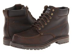 "NIB Mens Skechers Brown Leather ""Bruiser"" Hiking Trucker Boots SIZE 10.5 $120 #SKECHERS #HikingTrailWork"