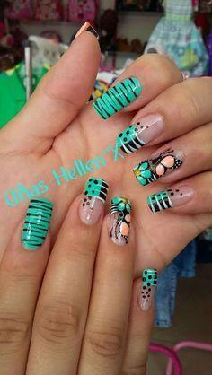 diseño de uñas cortas Faciles de Hacer En CASA 2018 Funky Nails, Love Nails, Polygel Nails, Beautiful Nail Art, Gorgeous Nails, Pretty Nails, Cute Acrylic Nails, Acrylic Nail Designs, Nail Art Designs