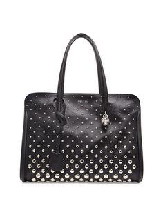 Padlock Studded Zip Satchel Bag, Black/White by Alexander McQueen at Neiman Marcus.