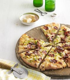 Caramelized-Leek and Bacon Pizza