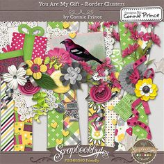 You Are My Gift - Border Clusters :: Kit Element Bits :: Kits & Bits :: SCRAPBOOK-BYTES  from Designs by Connie Prince. Released Aug, 2014