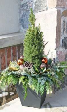 outdoor christmas decorating ideas - New Year Christmas Front Doors, Christmas Porch, Christmas Lights, Christmas Holidays, Christmas Wreaths, Outdoor Christmas Planters, Christmas Plants, Outdoor Christmas Decorations, Outdoor Planters