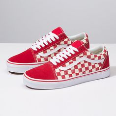 f2a16862fdac75 classic checked old skool vans. I love the red and white. Red and black
