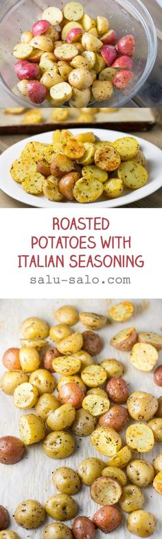 In this roasted potatoes recipe, baby potatoes were coated with olive oil and Italian seasoning and then baked in the oven cut side down for half an hour.