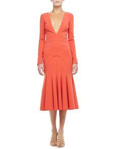 J. Mendel Plunging Godet-Skirt Dress - Neiman Marcus