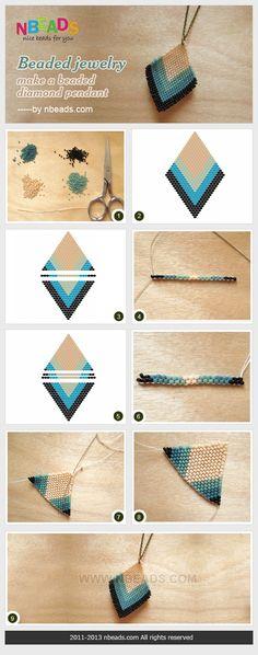 beaded jewelry - make a beaded diamond pendant