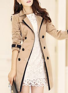 Vangull Trench Coat para as mulheres 2016 moda vire-down Collar Double Breasted contraste Color longo Coats Plus Size Casaco Feminino Tan Trench Coat, Double Breasted Trench Coat, Belted Coat, Khaki Coat, Trench Jacket, Coats For Women, Clothes For Women, Langer Mantel, Coat Dress