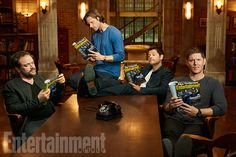 Mark Shepherd, Jared Padalecki, Misha Collins, and Jensen Ackles photoshoot for winning the EW cover competition! Way to go Supernatural Family!