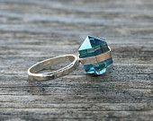 Aqua Aura Quartz Crystal Point Banded Sterling Silver Ring