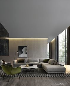 The contemporary design is all about simplicity, functionality, and elegance. Here are some stunning contemporary living room design ideas. Living Room Interior, Home Living Room, Living Room Designs, Living Room Furniture, Apartment Living, Men Apartment, Living Area, Contemporary Interior Design, Home Interior Design
