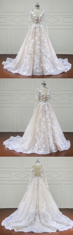 Vintage Illusion Neckline Long Sleeves Lace Wedding Dresses For Bride