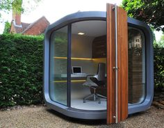 So this is the OfficePOD. It's a little office that you can drop in your backyard and be able to work for home, without being in your home. One giant and immediate question...is this air conditioned? In our summers this would be less OfficePOD and more DeathPOD.