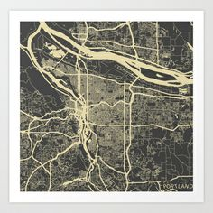 Portland Map Art Print by Map Map Maps - $18.00 ----------------------------If you like my work, you can folllow my Facebook accournt : https://www.facebook.com/MapMapMaps?ref_type=bookmark