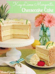 Key Lime Margarita Cheesecake Cake by WickedGoodKitchen. ~ Key lime cheesecake and Margarita cake frosted with key lime curd and cream cheese buttercream with a coconut-macadamia nut graham cracker crunch. Key Lime Margarita, Margarita Cake, Key Lime Cheesecake, Cheesecake Cake, Frosting Recipes, Cake Recipes, Dessert Recipes, Just Desserts, Delicious Desserts