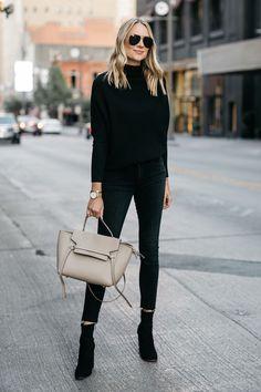 Black Cashmere Sweater Black Skinny Jeans Black Booties Celine Mini Belt Bag