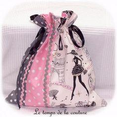 sac pochon lingerie gris rose noir blanc parisienne dijon gien chatillon loire création décoration ameublement fait main le temp