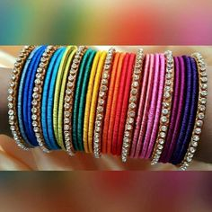 Colorful handmade bangles   For more designs, like my facebook page  Rainbow Dazzle Gota Jewellery  https://www.facebook.com/pages/Rainbow-Dazzle/461994940500930