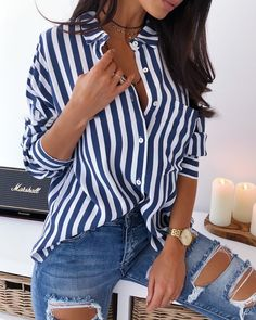 ivrose / Turn-down Collar Colorblock Striped Buttoned Shirt Mode Outfits, Chic Outfits, Summer Outfits, Fashion Outfits, Womens Fashion, Look Jean, Mode Streetwear, Mode Style, Look Fashion