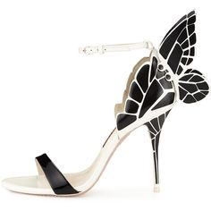 Sophia Webster Chiara Butterfly Wing Ankle-Wrap Sandal, Black/White ($665) ❤ liked on Polyvore featuring shoes, sandals, white black shoes, ankle wrap sandals, butterfly shoes, white and black sandals and wing shoes