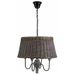 Lustre style rétro 4 lampes avec abat-jour en rotin tressé Briac - Luminaire style rétro très mode en ce moment
