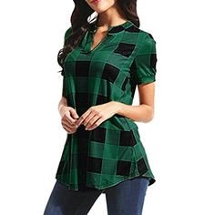 59e308c2 Women Short Sleeve Plaid V Neck Henley T Shirt Casual Irregular Hem Blouse  Tunic Tops