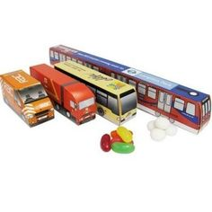 BESPOKE SHAPED PROMOTIONAL SWEET BOXES - a great idea, standard van, truck and train shapes filled with jelly beans and mints, supplied by Code Promotional Merchandise!