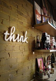 think script handmade wood sign - wall decoration for vintage or modern decor. $42.00, via Etsy.