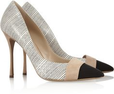 Nicholas Kirkwood Striped Elaphe Suede and Grosgrain Pumps in Beige (neutrals)