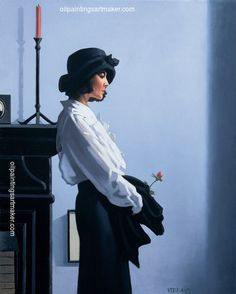 Jack Vettriano Valentine Rose abstract oil painting, painting - $3,000.00 Authorized official website