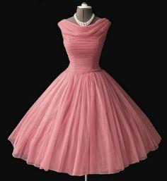 Pink Apricot Chiffon 50s Dress