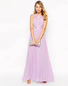 Image 4 ofJarlo Delilah Maxi Dress With Ruched Bodice And Lace Inserts