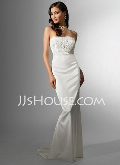 Wedding Dresses - $119.99 - Sheath/Column Strapless Sweep Train Charmeuse Wedding Dresses With Lace (002001615) http://jjshouse.com/Sheath-Column-Strapless-Sweep-Train-Charmeuse-Wedding-Dresses-With-Lace-002001615-g1615