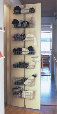 Purchased the Elfa back-of-door pantry storage system.it has created a ton of new storage in my tiny pantry. Closet Storage Systems, Ikea Storage, Pantry Storage, Kitchen Storage, Storage Spaces, Closet Door Storage, Elfa Closet, Storage Ideas, Ikea Pantry