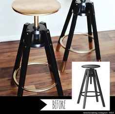 IKEA bar stools painted with gold and black laquared paint, like Whoa! Seen on 13 Chic IKEA Hacks for Your First Apartment via Hacks Ikea, Hacks Diy, Bar Ikea, Ikea Bar Cart, Bar Stool Makeover, Ikea Makeover, Furniture Makeover, New Swedish Design, Diy Casa