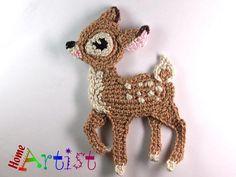 Deer Baby Fawn Crochet Applique Pattern in my dwnlds Crochet Deer, Cute Crochet, Crochet Animals, Crochet Flowers, Crochet Toys, Crochet Applique Patterns Free, Crochet Motif, Crochet Designs, Crochet Embellishments