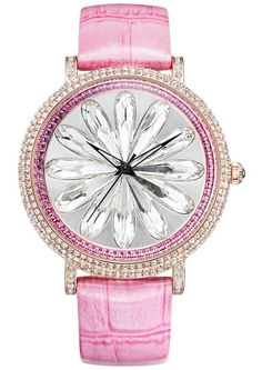 Davena Swarovski Elements Pink Quartz Watch
