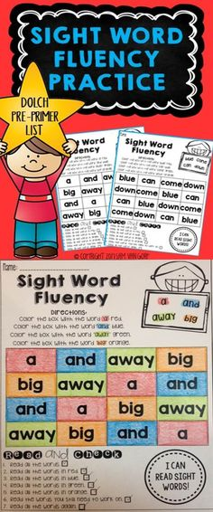 *Pre-Primer List* These Sight Word Fluency Practice sheets offer students opportunities for eyes-on-print time with repeated reading of the sight words.  There is NO PREP included!  Simply print and use with students!