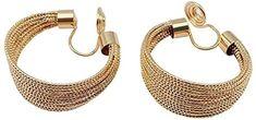 Amazon.com: Miyabi Grace Women's Elegant Gold Big Mesh Invisible Spiral Clip Hoop On Earrings Comfortable Non Pierced Earrings Pierced Look: Jewelry Pierced Earrings, Clip On Earrings, Spiral, Hoop, Mesh, Amazon, Elegant, Big, Bracelets