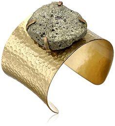 Yochi Pyrite Gold-Plated Cuff Bracelet