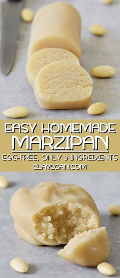 Making marzipan from scratch is easier than you might think. Furthermore, it's a lot cheaper than store-bought! This homemade marzipan recipe contains only 3 ingredients and it's ready in literally 5 minutes. A traditional recipe is vegan (without eg Easy Cake Recipes, Vegan Recipes, Snack Recipes, Dessert Recipes, Easy Homemade Recipes, Dessert Bread, Sweet Recipes, Homemade Marzipan Recipe, Marzipan Recipe With Almond Flour