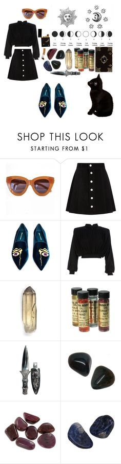 """BAD MOON RISING  ( T A G )"" by magickofthelema ❤ liked on Polyvore featuring Karen Walker, AG Adriano Goldschmied, Nicholas Kirkwood, Balmain and vintage"