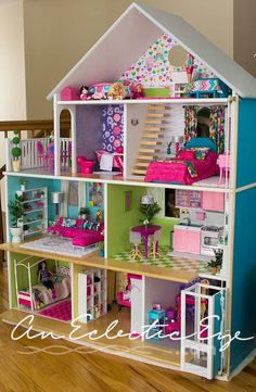 Free Plans for Building A Barbie Doll House - Barbies! Free Plans for Building A Barbie Doll House - Girls Dollhouse, Dollhouse Dolls, Dollhouse Ideas, Homemade Dollhouse, Homemade Barbie House, American Girl Dollhouse, Bookshelf Dollhouse, Dollhouse Miniatures, American Doll House
