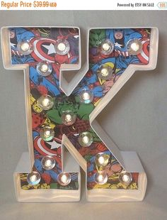 """Superhero Theme 8"""" Lighted Marquee Sign Letters Ampersand Arrow, geek weddings, kids boys & tween bedroom decor by JessiesGiftBoutique on Etsy https://www.etsy.com/listing/220758717/superhero-theme-8-lighted-marquee-sign"""