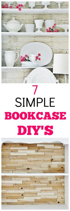 Looking for some simple DIY bookshelf projects? Here are 7 creative projects with DIY instructions ranked from easiest to most challenging. Bookcase projects. Bookshelf DIY. Wood shims. Shiplap projects. Faux wood bookcase. Diy Wood Projects, Diy Projects To Try, Home Projects, Cool Bookshelves, Bookshelf Diy, Bookcase, Living Furniture, Diy Furniture, Cheap Home Decor